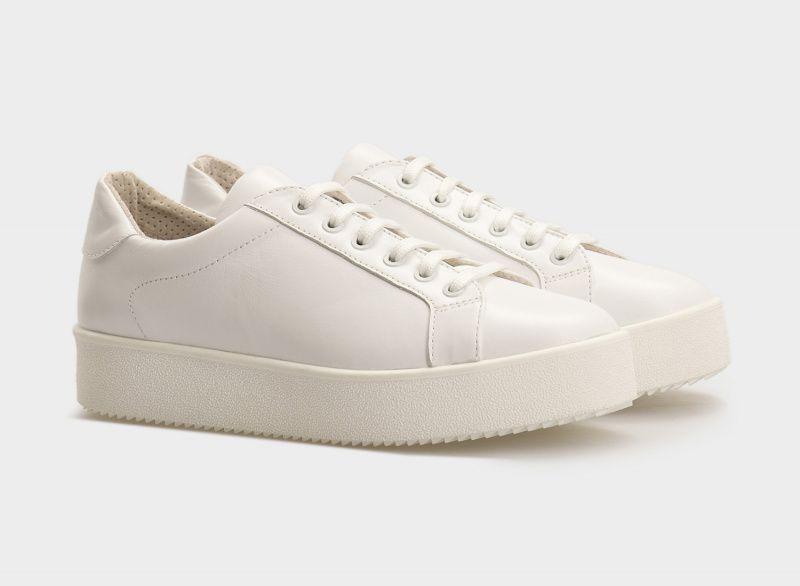 Кроссовки для женщин Кеды 0101-2-010 белая кожа 0101-2-010 размерная сетка обуви, 2017