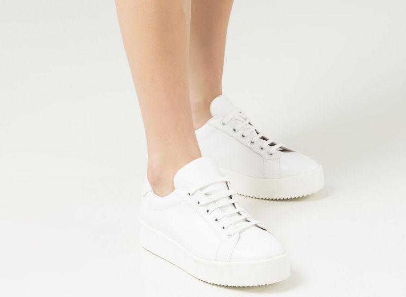 Кроссовки для женщин Кеды 0101-2-010 белая кожа 0101-2-010 примерка, 2017