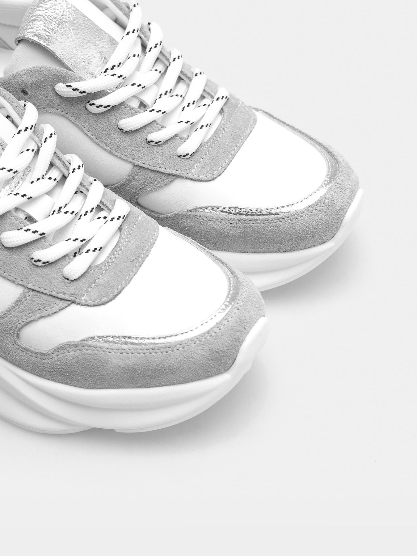 Кросівки  для жінок Кроссовки 01011-Tsir белая кожа, серый замш 01011-Tsir дивитися, 2017