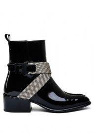 женские 024511 Лаковые черные ботинки Modus Vivendi 024511 размерная сетка обуви, 2017