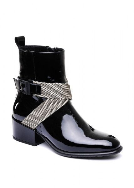 женские 024511 Лаковые черные ботинки Modus Vivendi 024511 брендовая обувь, 2017
