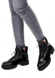 женские 033002 Черные кожаные ботинки на шнурках Modus Vivendi 033002 выбрать, 2017
