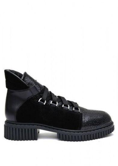 женские 033002 Черные кожаные ботинки на шнурках Modus Vivendi 033002 , 2017