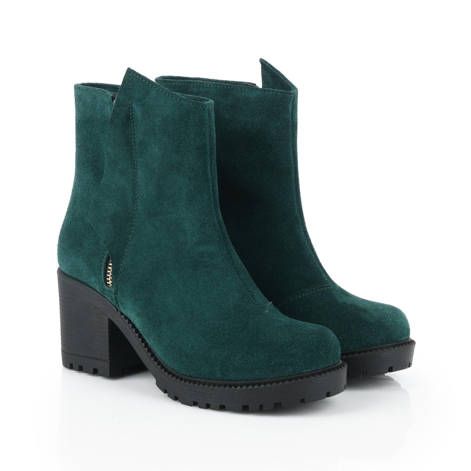 Ботинки для женщин Ботинки Молния замшевые на байке зеленые 100040 обувь бренда, 2017