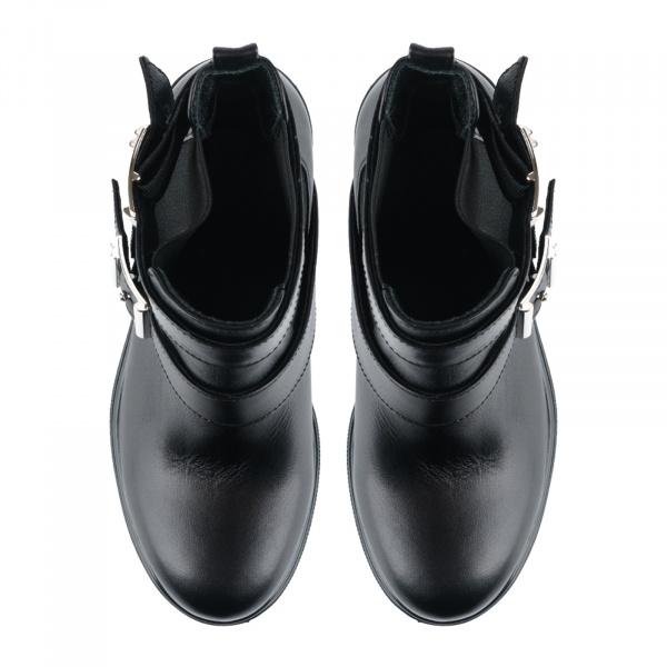 Ботинки женские Ботинки Луна кожаные черные на байке 100043 примерка, 2017
