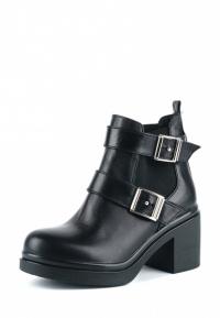 Ботинки женские Ботинки Луна кожаные черные на байке 100043 цена, 2017