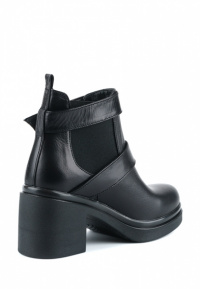 Ботинки женские Ботинки Луна кожаные черные на байке 100043 брендовая обувь, 2017