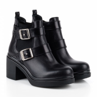 Ботинки женские Ботинки Луна кожаные черные на байке 100043 размерная сетка обуви, 2017