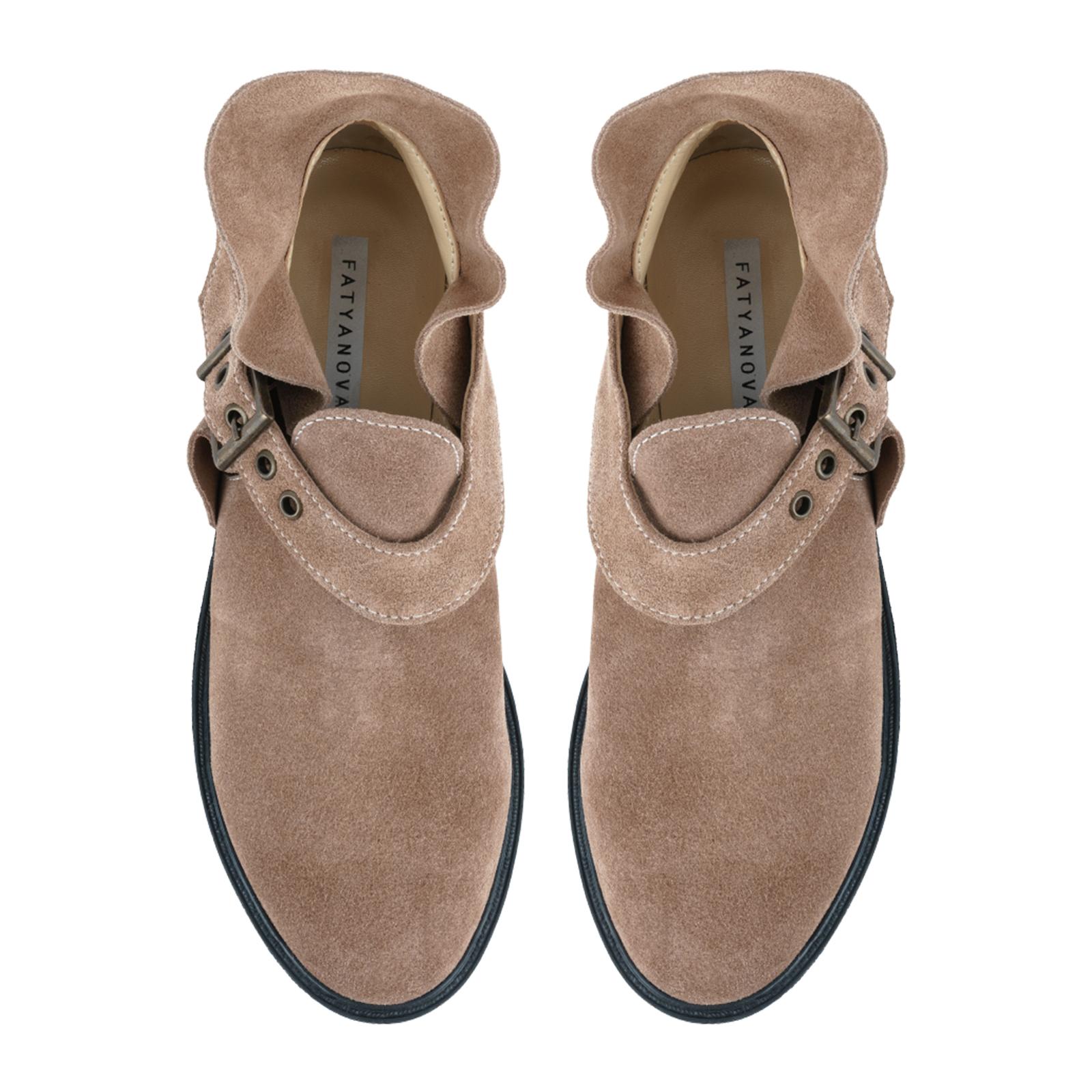 Полуботинки женские Ботинки Мерлин замша цвета капучино 100050 обувь бренда, 2017