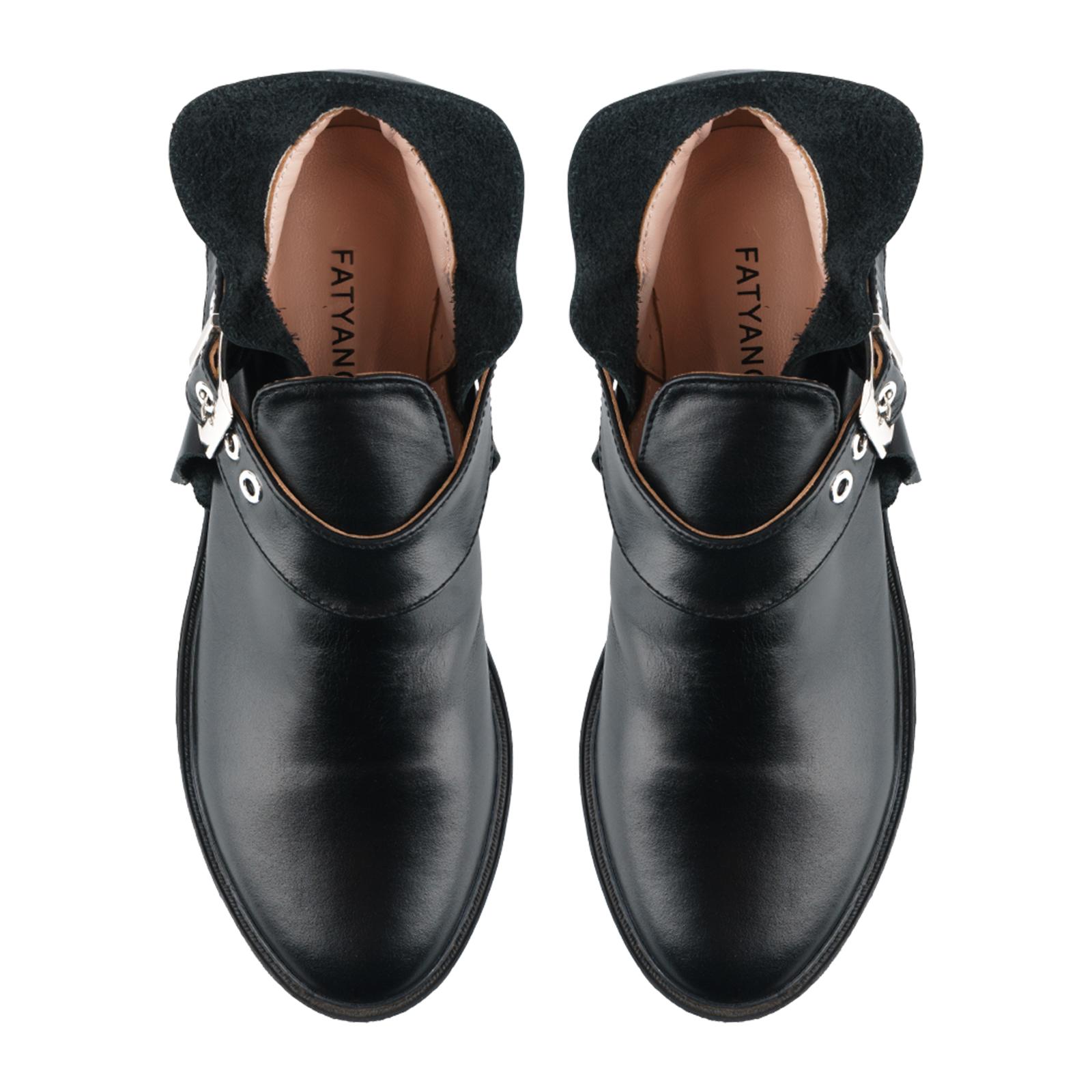 Полуботинки женские Ботинки Мерлин кожаные черного цвета 100051 , 2017