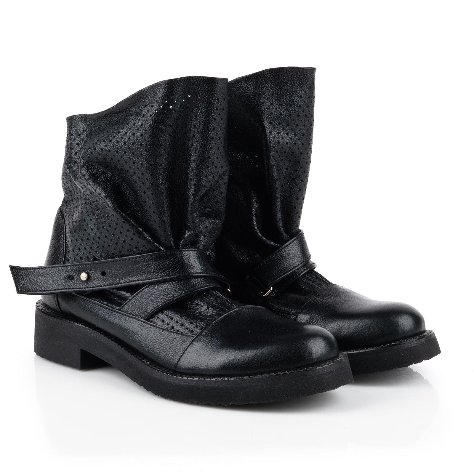 Ботинки женские Ботинки Вера кожаные черного цвета 100057 размерная сетка обуви, 2017