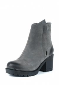 Ботинки женские Ботинки Молния нубуковые серые на байке 100100 примерка, 2017