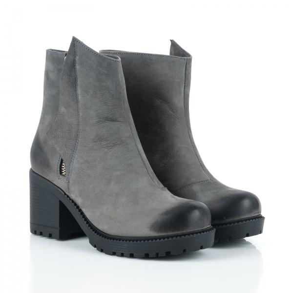 Ботинки женские Ботинки Молния нубуковые серые на меху 100101 брендовая обувь, 2017