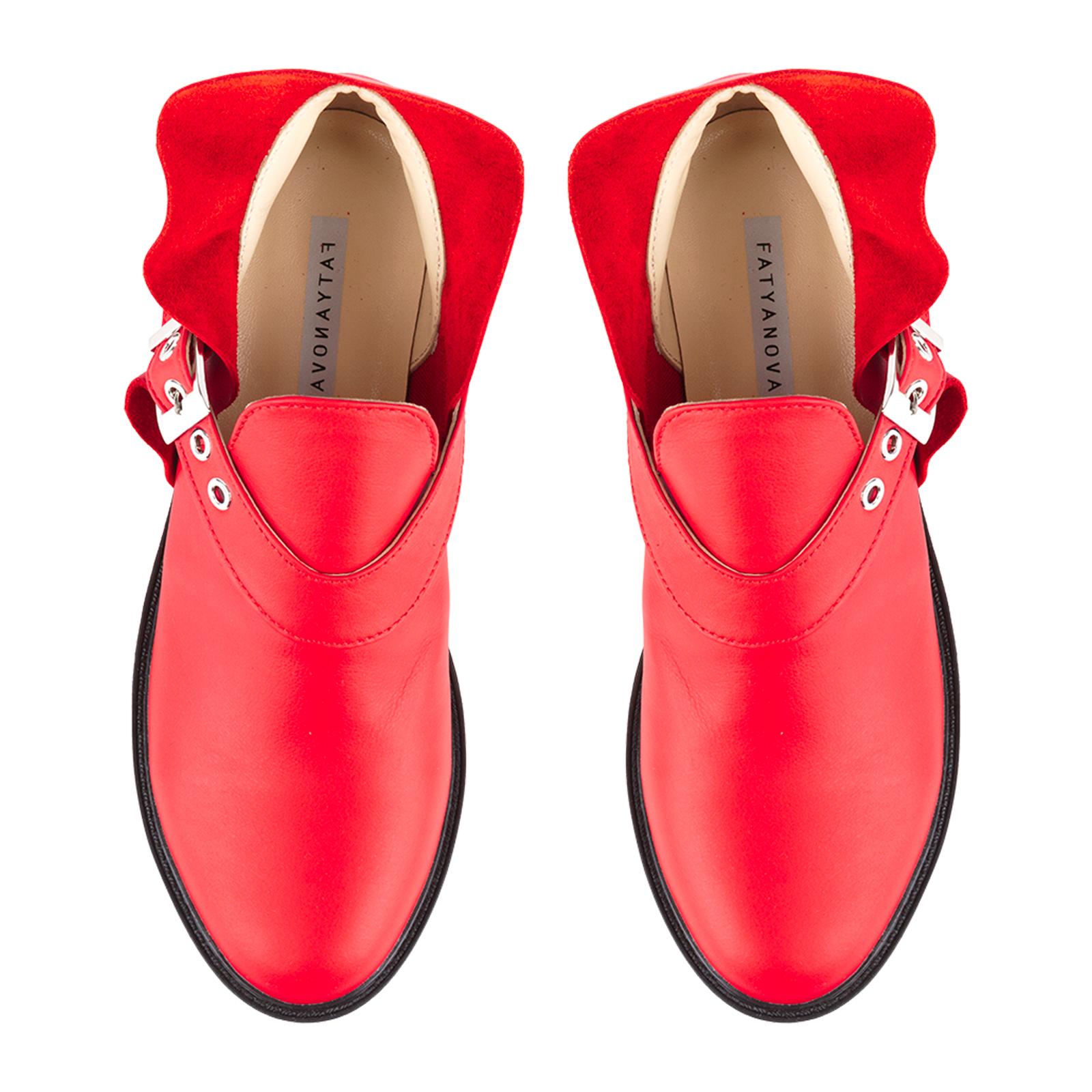 Полуботинки женские Ботинки Мерлин кожаные красного цвета 100102 купить в Украине, 2017