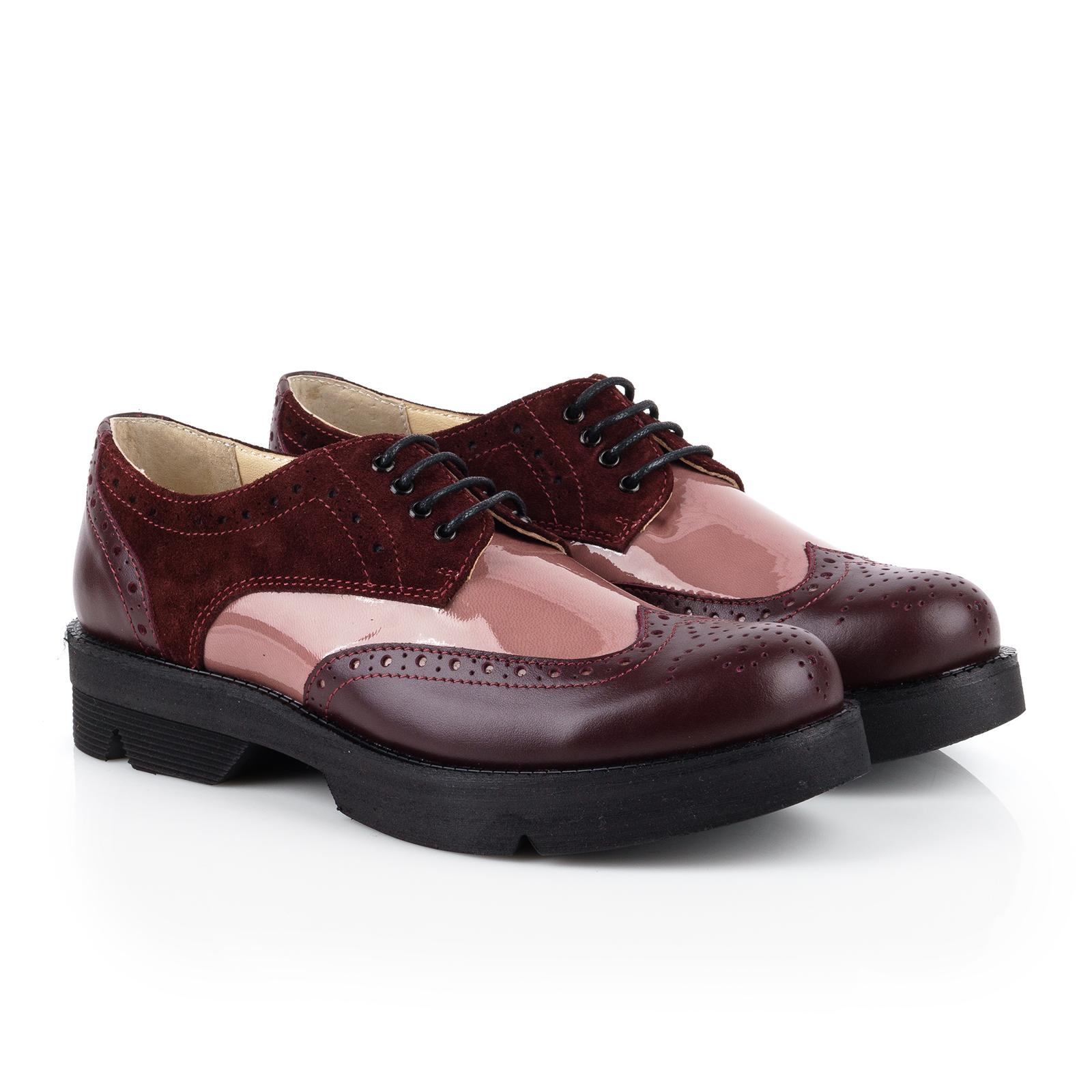 Туфли женские Туфли Фрида кожаные бордовые с розовыми вставками 100103 выбрать, 2017