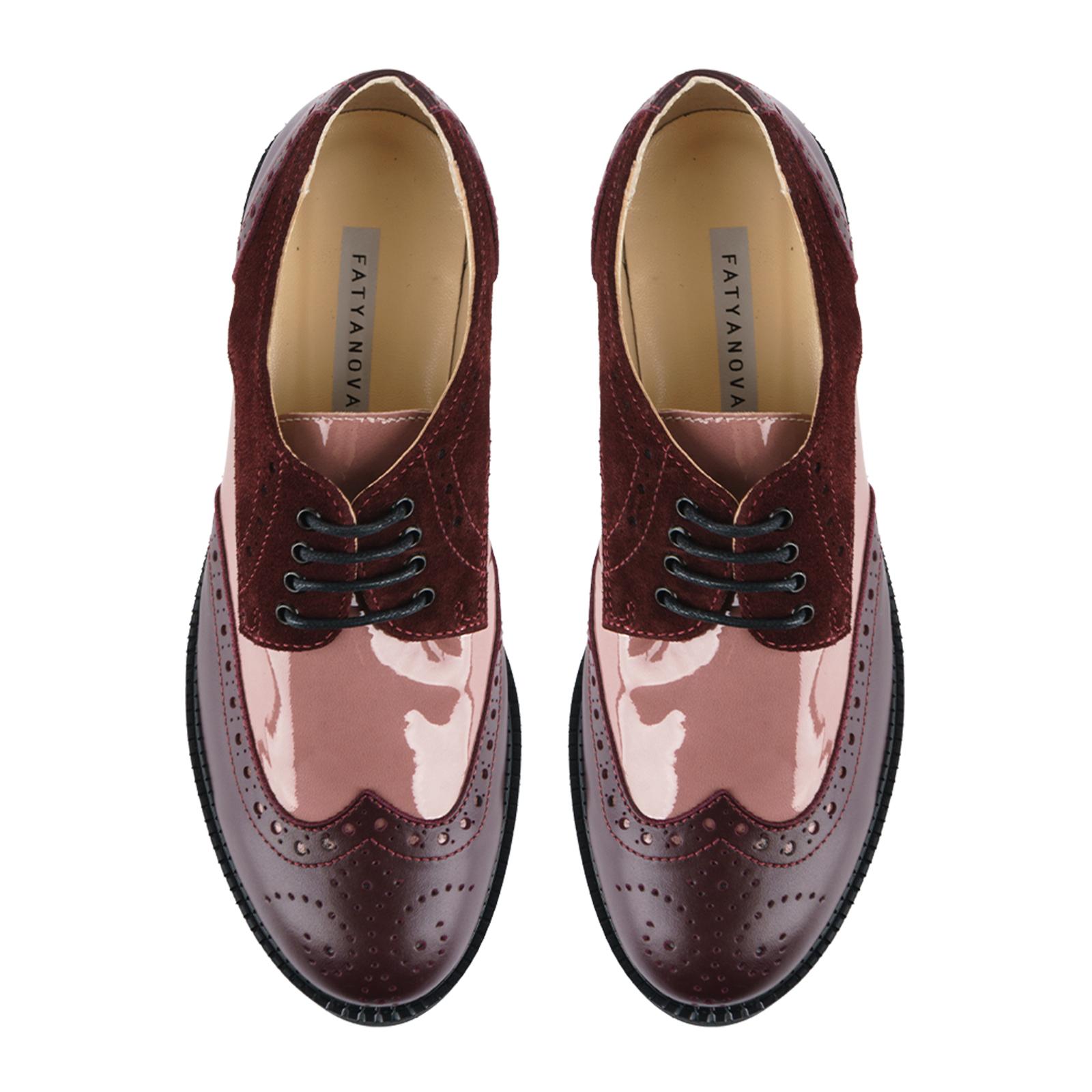 Туфли женские Туфли Фрида кожаные бордовые с розовыми вставками 100103 продажа, 2017