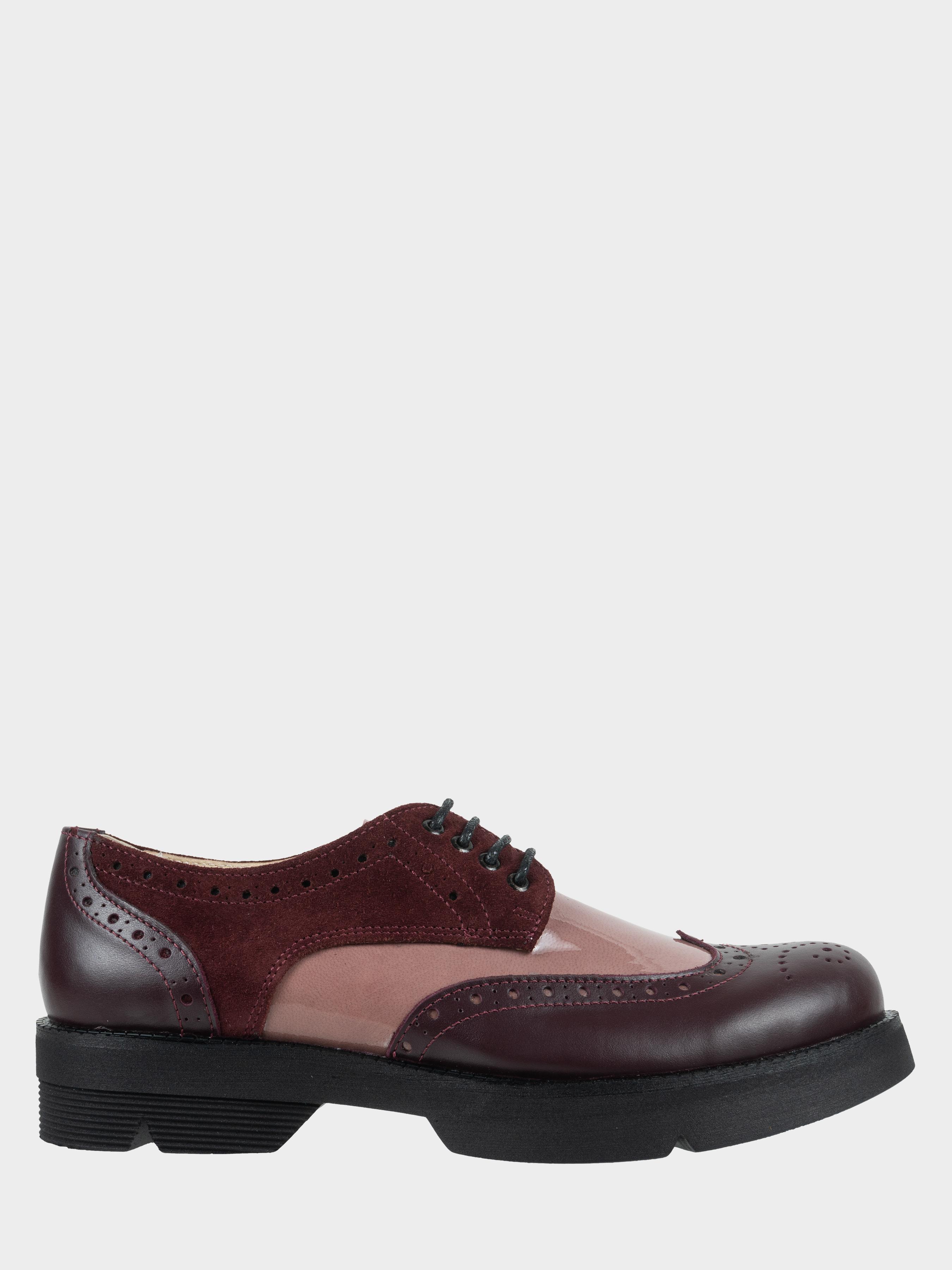 Туфли женские Туфли Фрида кожаные бордовые с розовыми вставками 100103 , 2017