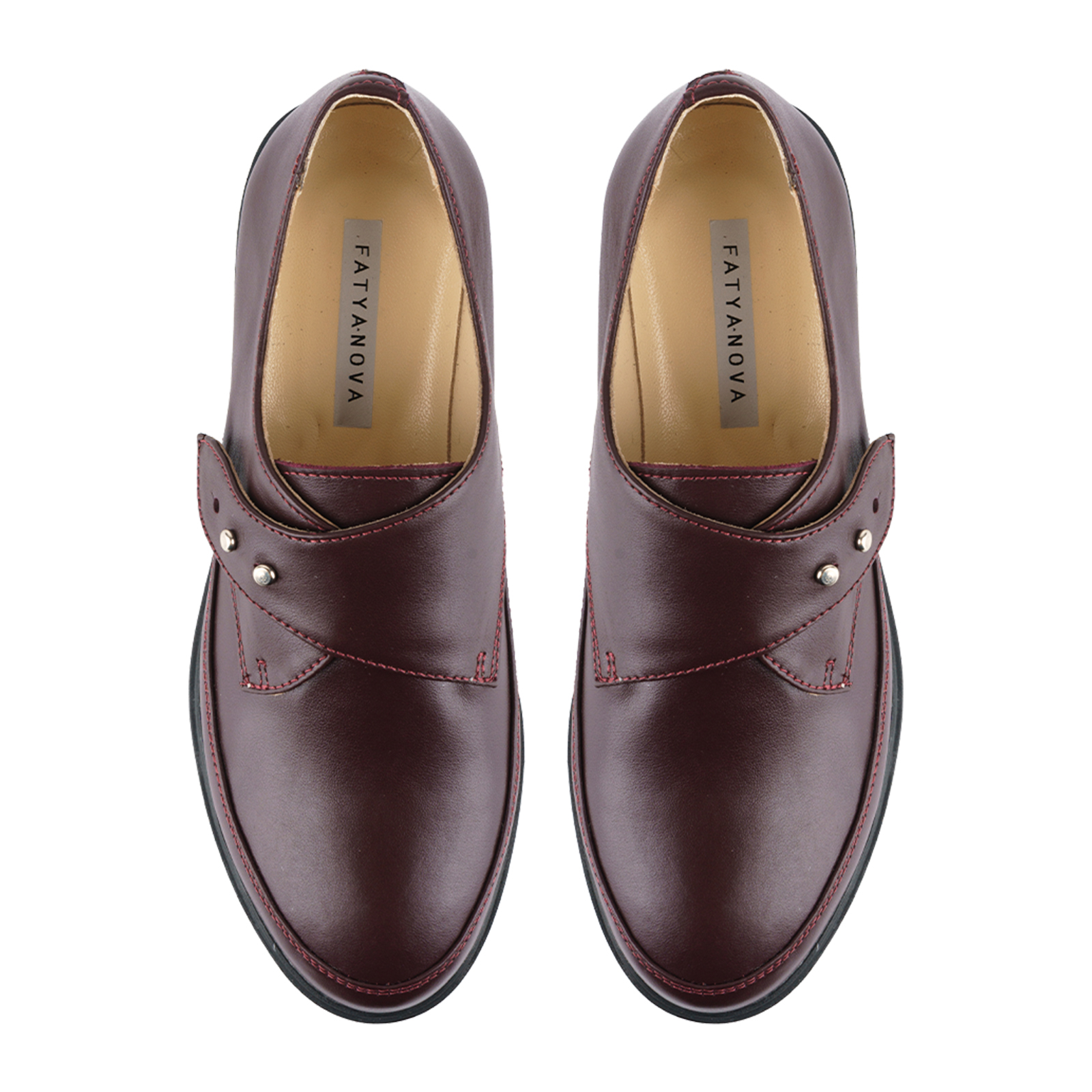 Туфли женские Туфли Алина кожаные бордового цвета 100107 брендовая обувь, 2017