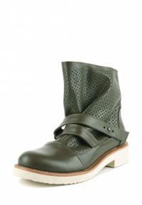 Ботинки женские Ботинки Вера кожаные оливкового цвета 100110 брендовая обувь, 2017