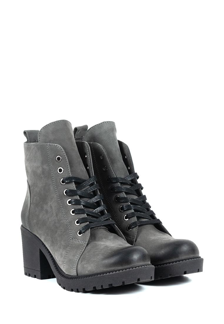 Ботинки женские Ботинки Рада нубуковые серые на байке 100124 брендовая обувь, 2017