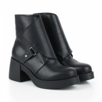 Ботинки для женщин Ботинки Агния кожаные на кожаной подкладке черные 100156 модные, 2017