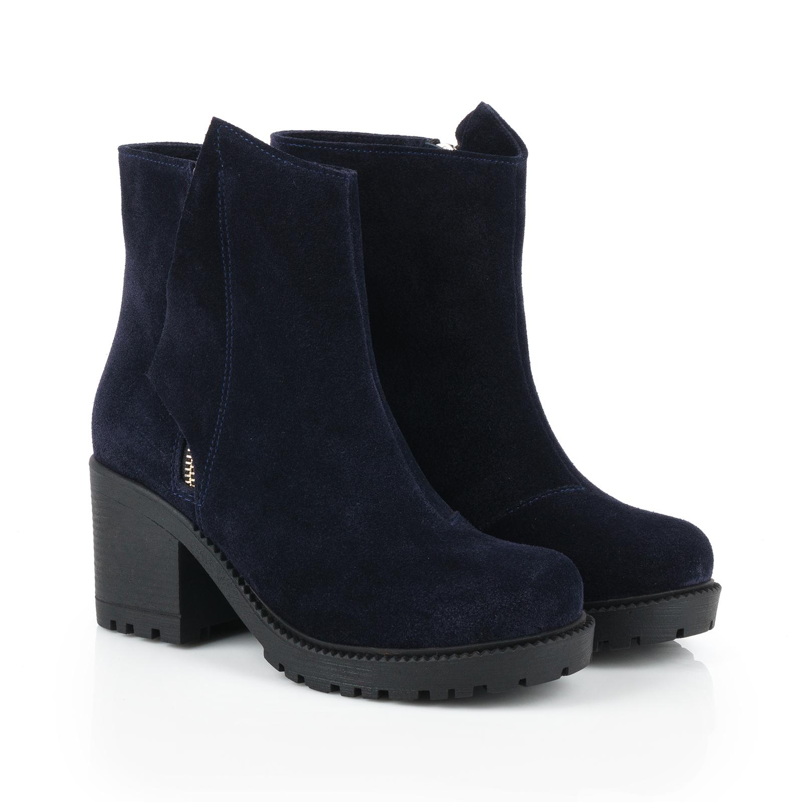 Ботинки женские Ботинки Молния замша синие на байке 100176 размерная сетка обуви, 2017