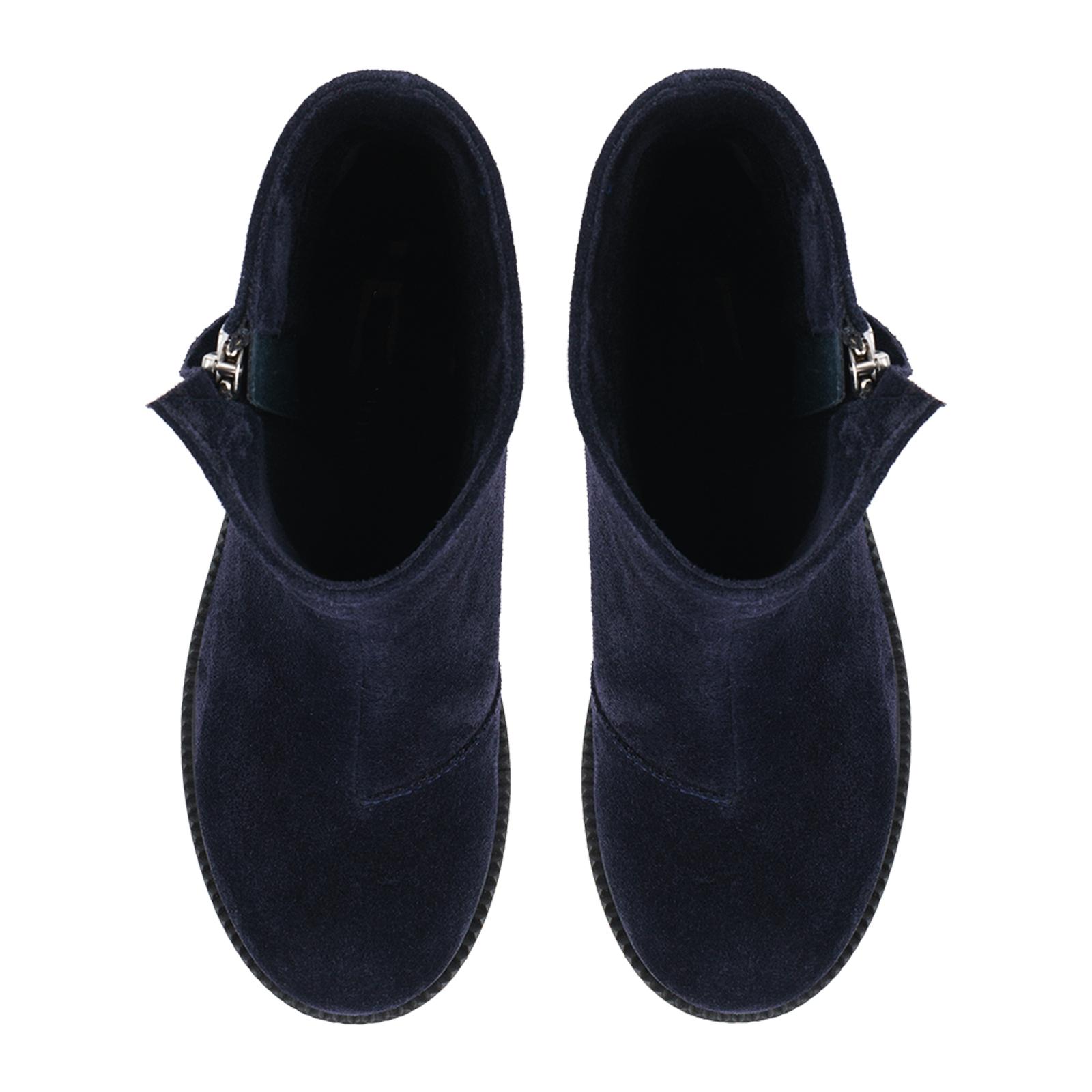 Ботинки женские Ботинки Молния замша синие на байке 100176 выбрать, 2017