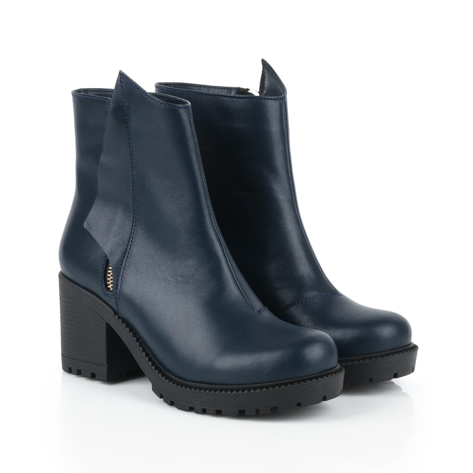 Ботинки для женщин Ботинки Молния кожа синие на байке 100178 брендовая обувь, 2017