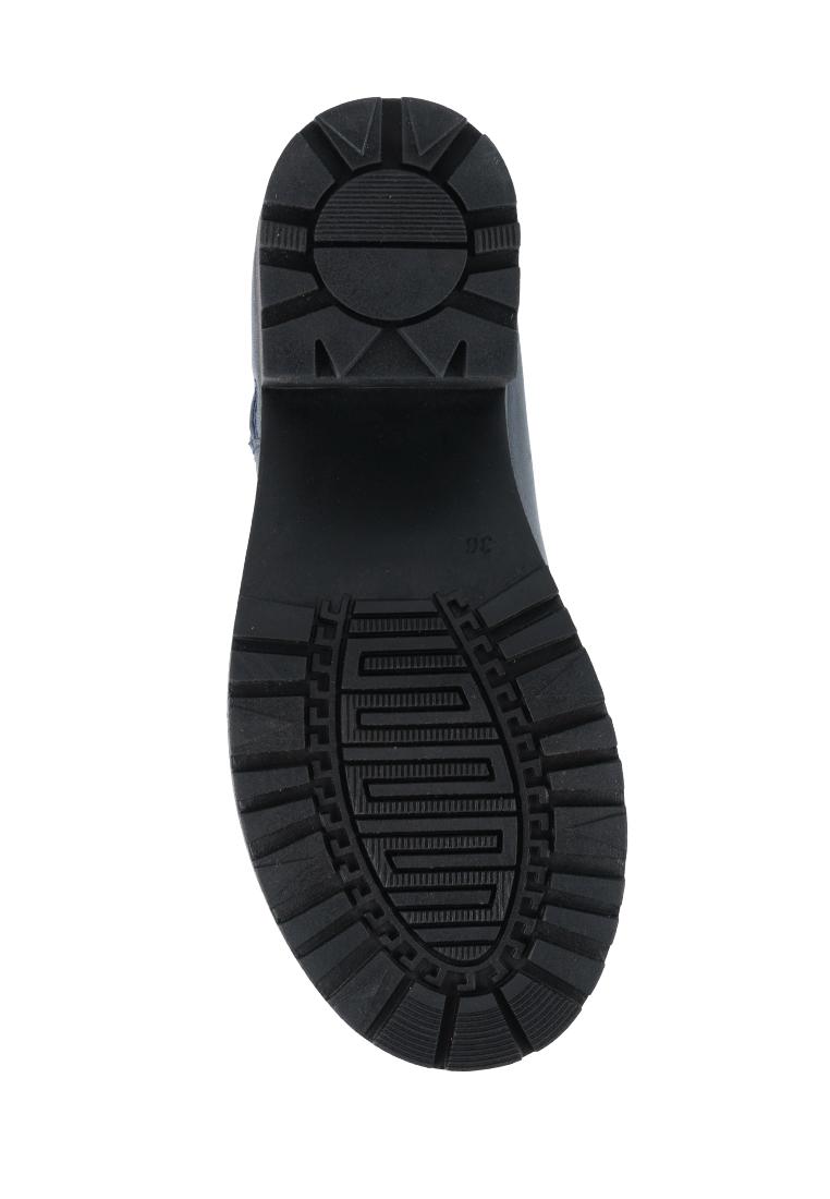 Ботинки для женщин Ботинки Молния кожа синие на байке 100178 выбрать, 2017