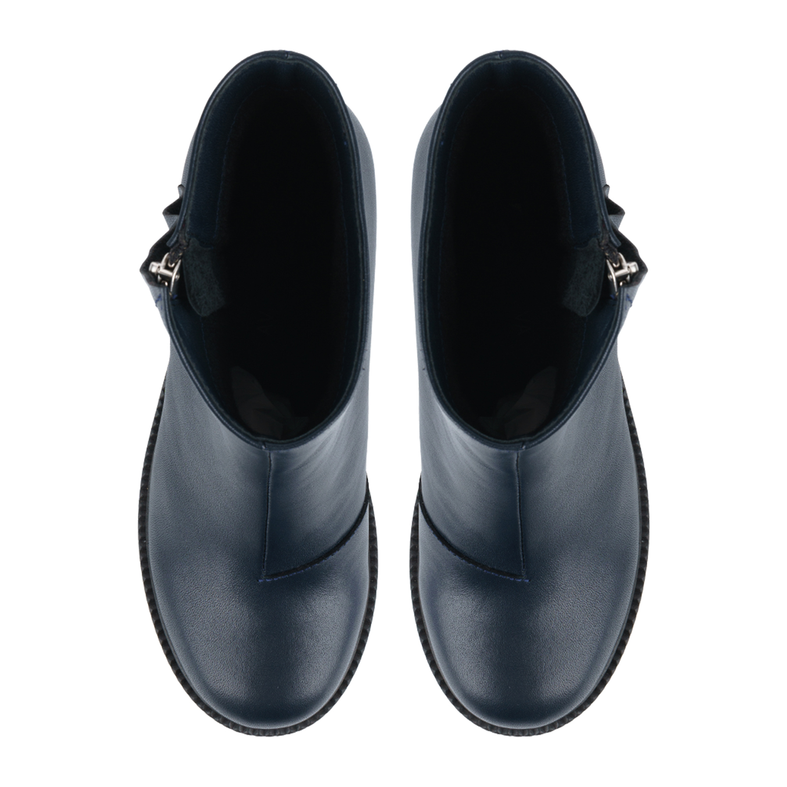 Ботинки для женщин Ботинки Молния кожа синие на байке 100178 цена, 2017