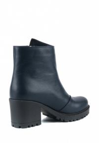 Ботинки для женщин Ботинки Молния кожа синие на байке 100178 примерка, 2017