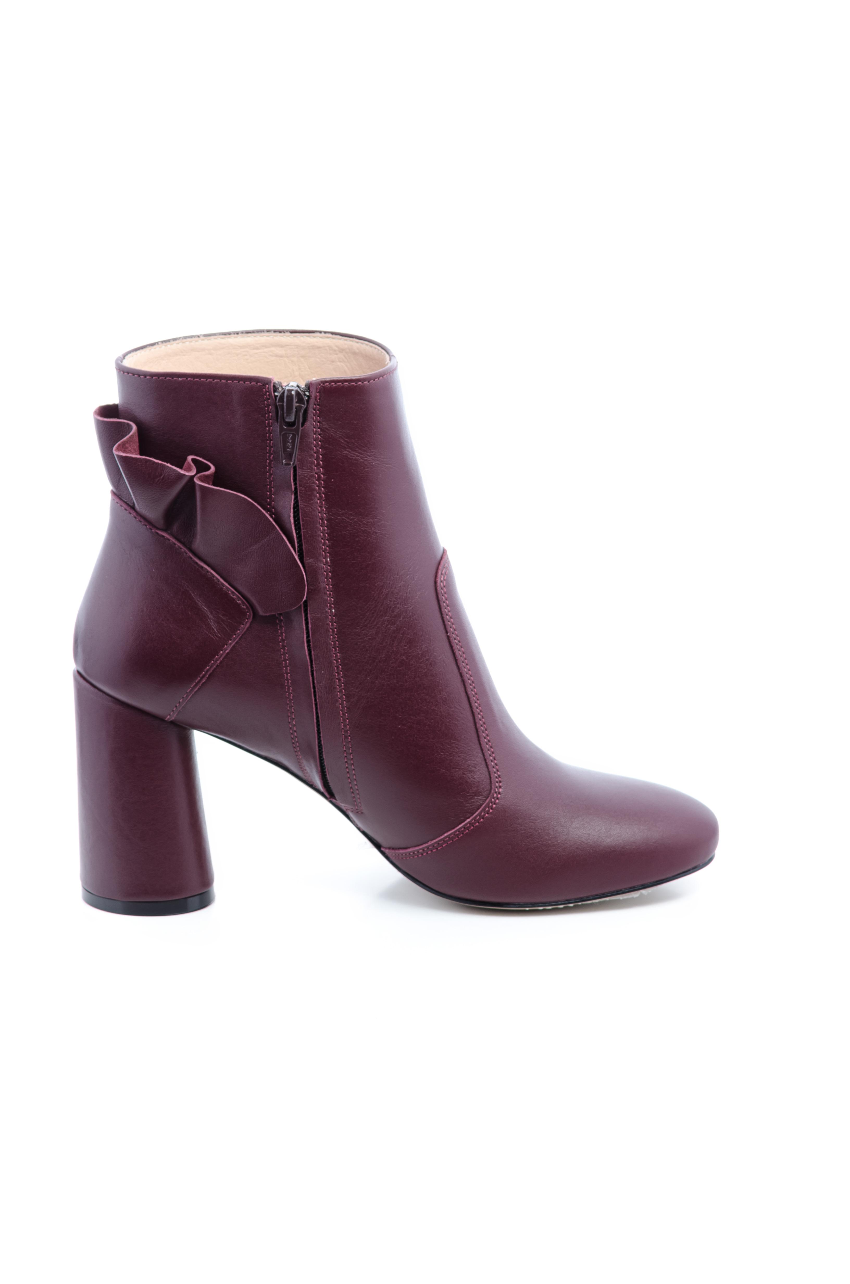 Ботинки женские Ботильоны Бонита кожа бордовые толстый каблук 100182 Заказать, 2017