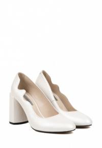Туфли для женщин Лодочки Волна кожа белый перламутр толстый каблук 100194 фото, купить, 2017
