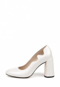 Туфли для женщин Лодочки Волна кожа белый перламутр толстый каблук 100194 продажа, 2017