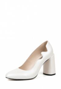 Туфли для женщин Лодочки Волна кожа белый перламутр толстый каблук 100194 модные, 2017
