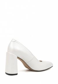 Туфли для женщин Лодочки Волна кожа белый перламутр толстый каблук 100194 смотреть, 2017