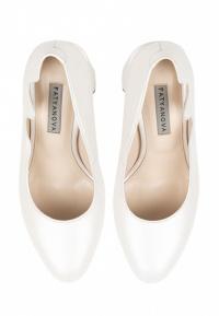 Туфли для женщин Лодочки Волна кожа белый перламутр толстый каблук 100194 выбрать, 2017