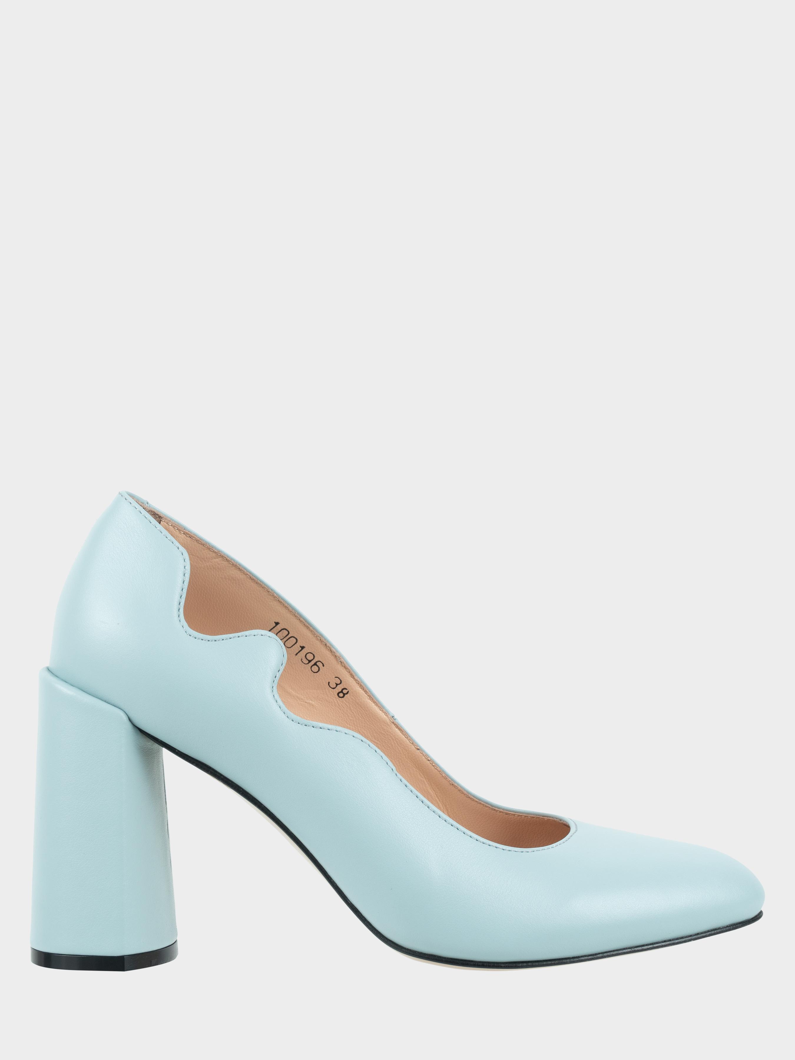 Туфлі жіночі Лодочки Волна кожа голубая толстый каблук 100196