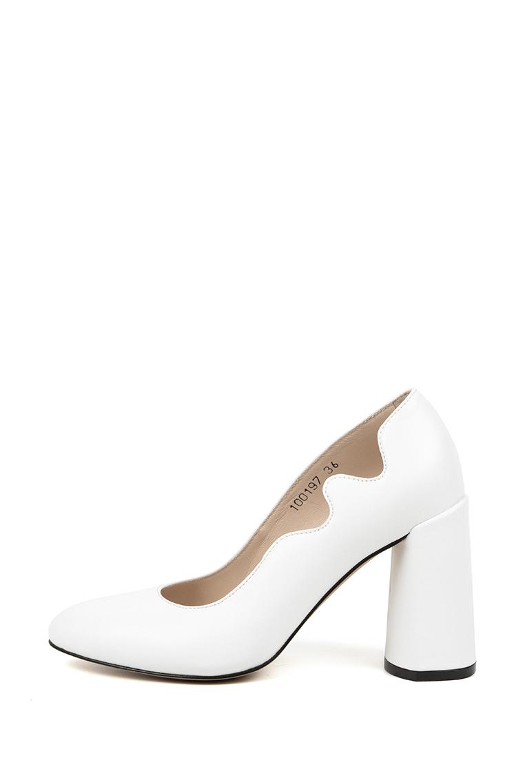 Туфли женские Лодочки Волна кожа белые толстый каблук 100197 брендовая обувь, 2017