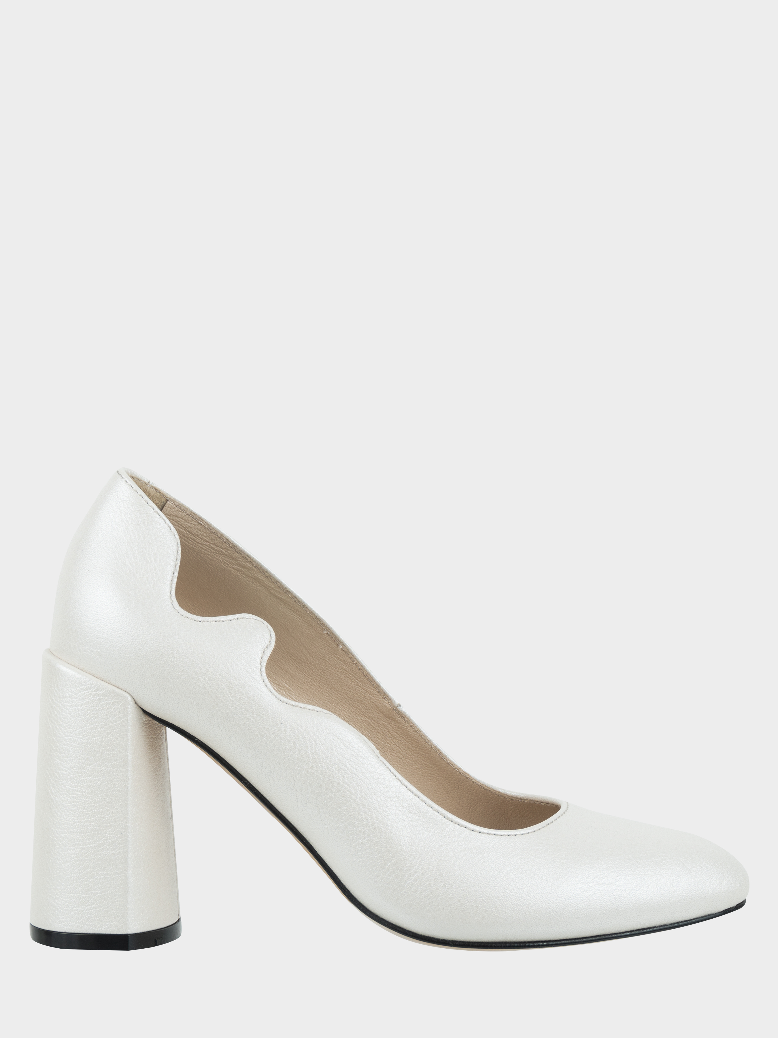 Купить Туфли женские Лодочки Волна кожа белые толстый каблук 100197, Fatyanova, Белый