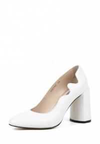 Туфли женские Лодочки Волна кожа белые толстый каблук 100197 купить в Интертоп, 2017