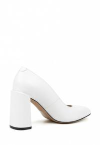 Туфли женские Лодочки Волна кожа белые толстый каблук 100197 примерка, 2017