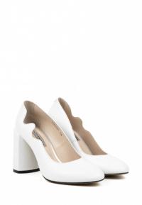 Туфли женские Лодочки Волна кожа белые толстый каблук 100197 выбрать, 2017
