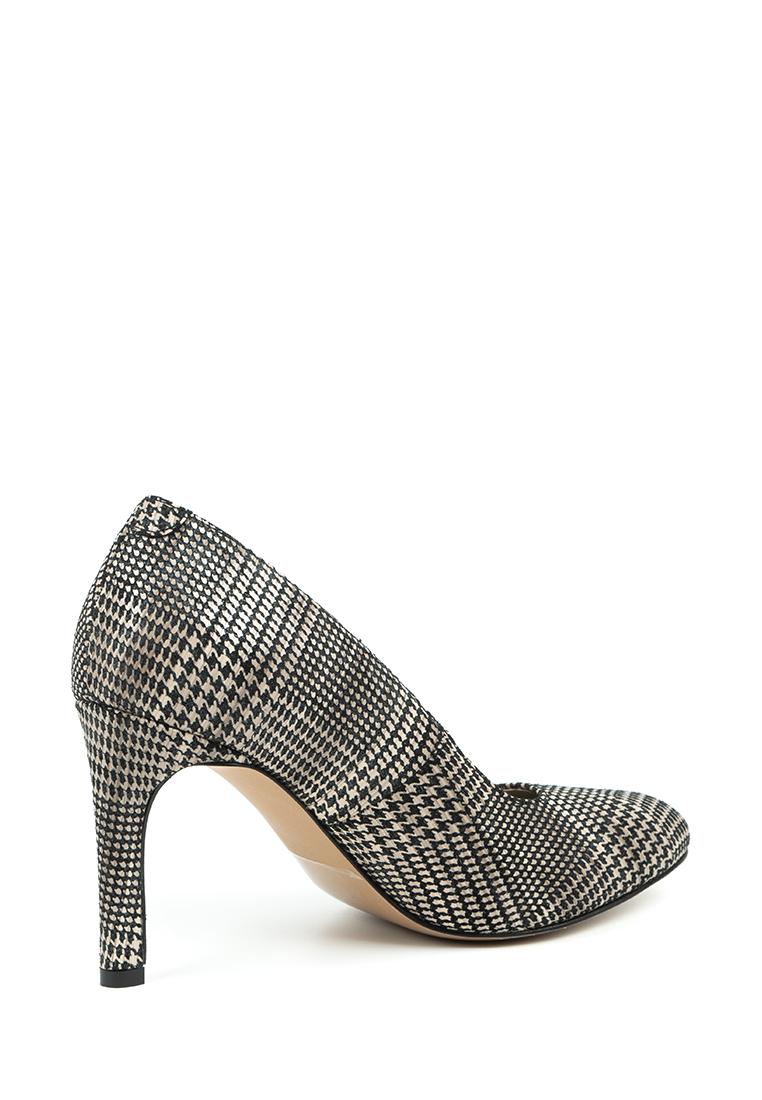 Туфли для женщин Лодочки Волна кожа в клеточку тонкий каблук 100201 , 2017