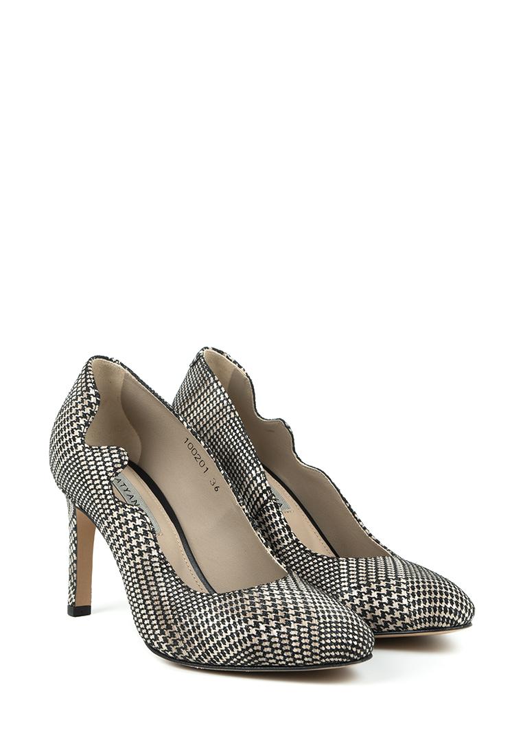 Туфли для женщин Лодочки Волна кожа в клеточку тонкий каблук 100201 выбрать, 2017