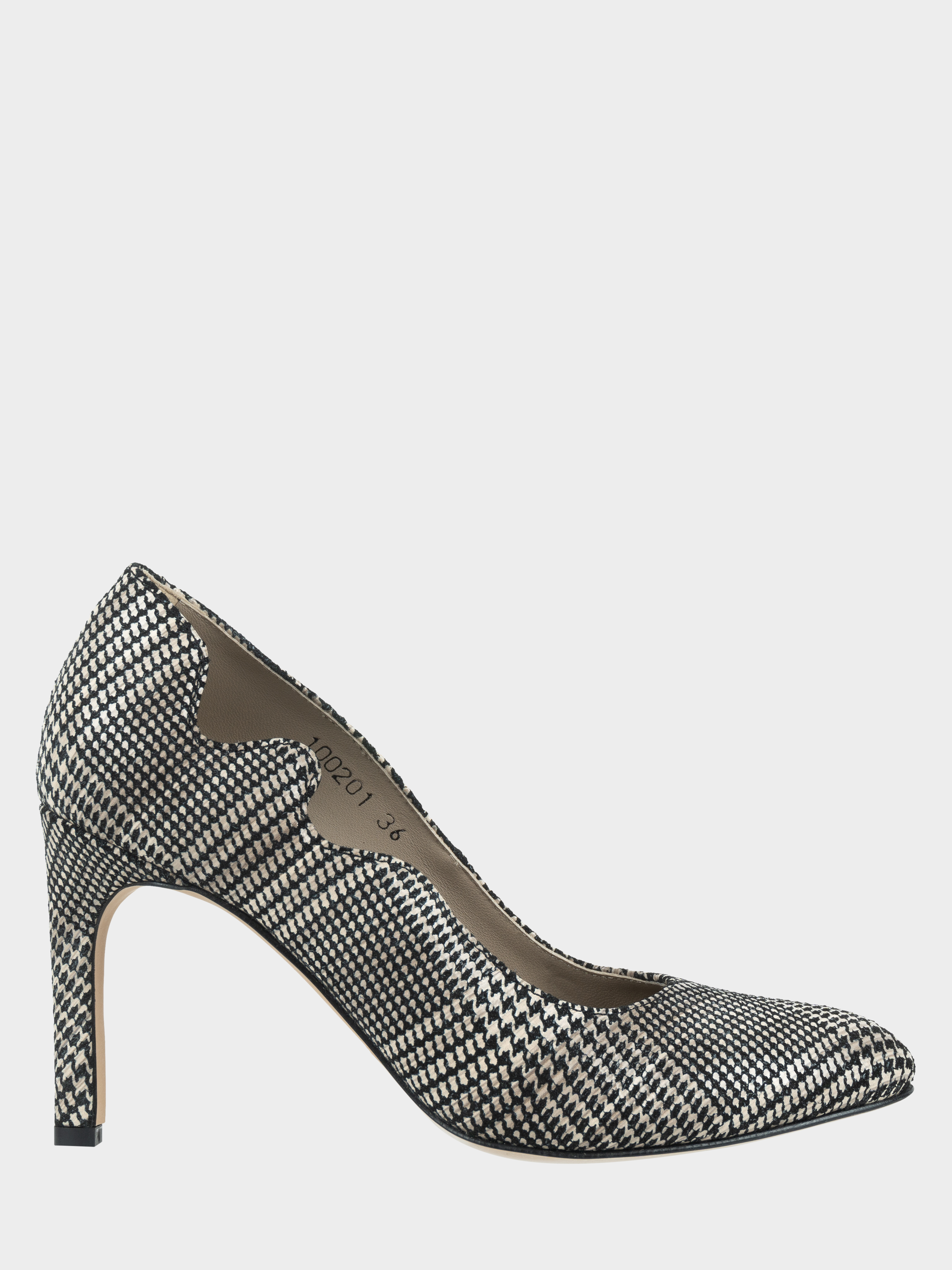 Туфли для женщин Лодочки Волна кожа в клеточку тонкий каблук 100201 обувь бренда, 2017