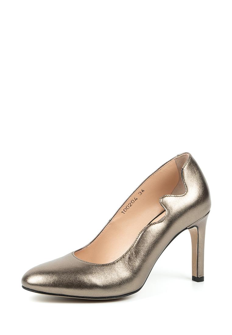 Туфли женские Лодочки Волна кожа темное серебро тонкий каблук 100204 , 2017