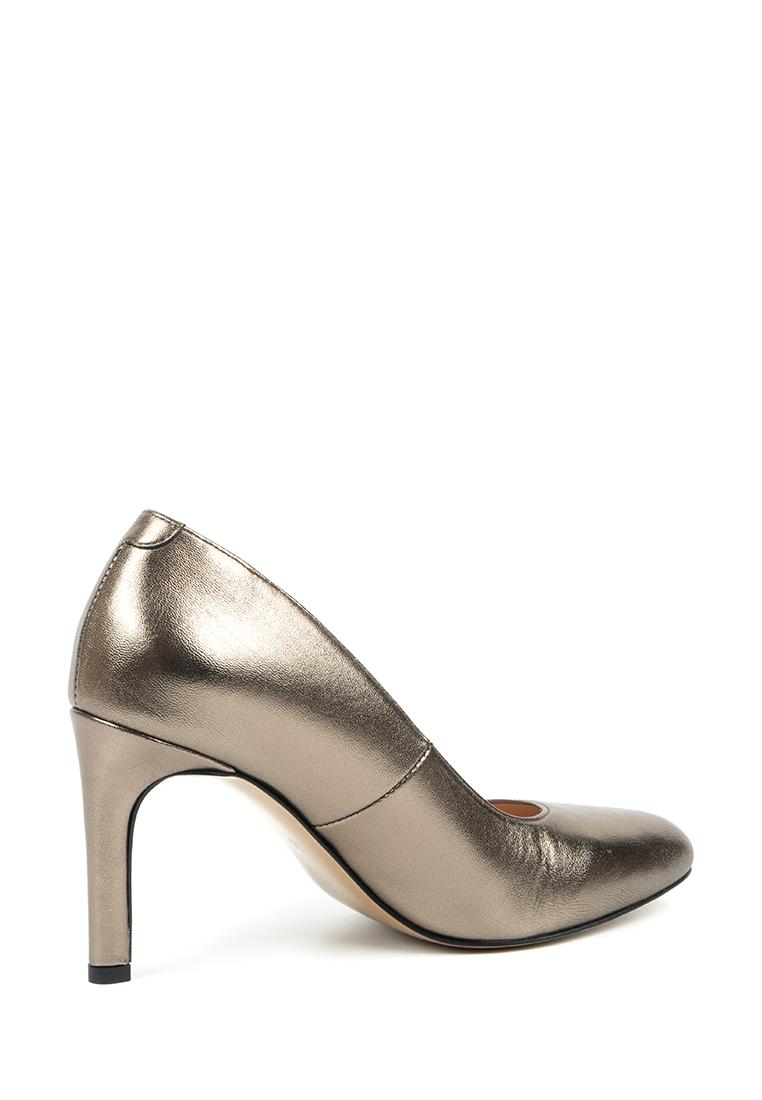 Туфли женские Лодочки Волна кожа темное серебро тонкий каблук 100204 выбрать, 2017