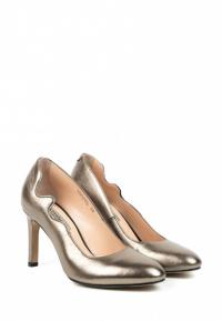 Туфли женские Лодочки Волна кожа темное серебро тонкий каблук 100204 смотреть, 2017