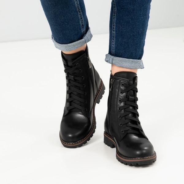 Ботинки для женщин Ботинки 128-0 черная кожа. Флис 128-0 брендовая обувь, 2017